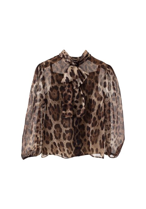 Camicia in chiffon di seta leopardata DOLCE & GABBANA KIDS | Camicie | L53S77 FS1ARHY13M