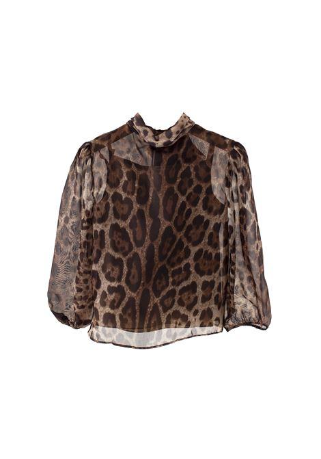 Leopard silk chiffon shirt DOLCE & GABBANA KIDS   L53S77 FS1ARHY13M