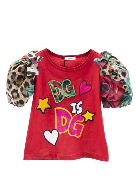 Little girl t-shirt with puff sleeve DOLCE & GABBANA KIDS | T-shirt | L5JTCT G7RKWS9000
