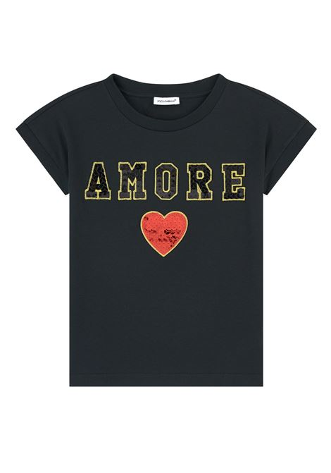 Baby T-shirt with Love embroidery DOLCE & GABBANA KIDS | T-shirt | L5JTCV G7RXIN0000