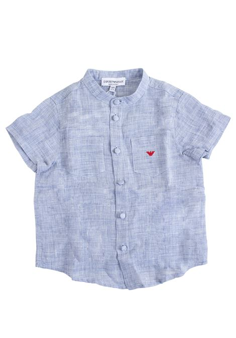 Newborn linen shirt with logo EMPORIO ARMANI KIDS | Shirt | 3GHC03 4N2YZ0742