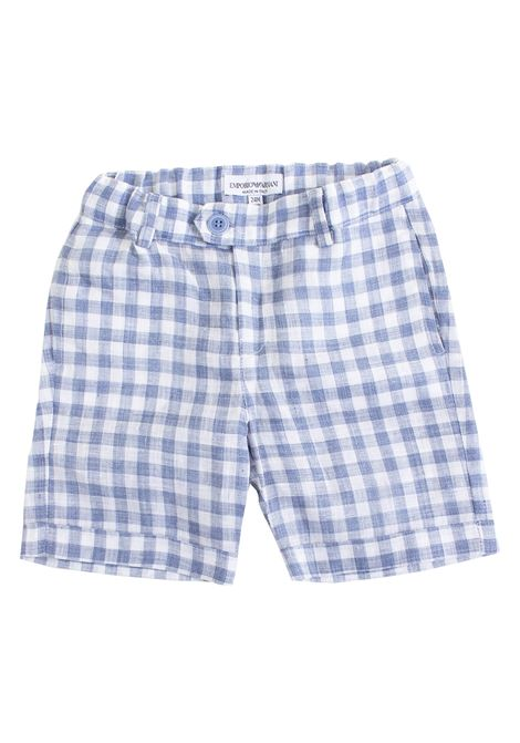 Newborn shorts in checked linen EMPORIO ARMANI KIDS | Short | 3GHS04 4N2XZF709