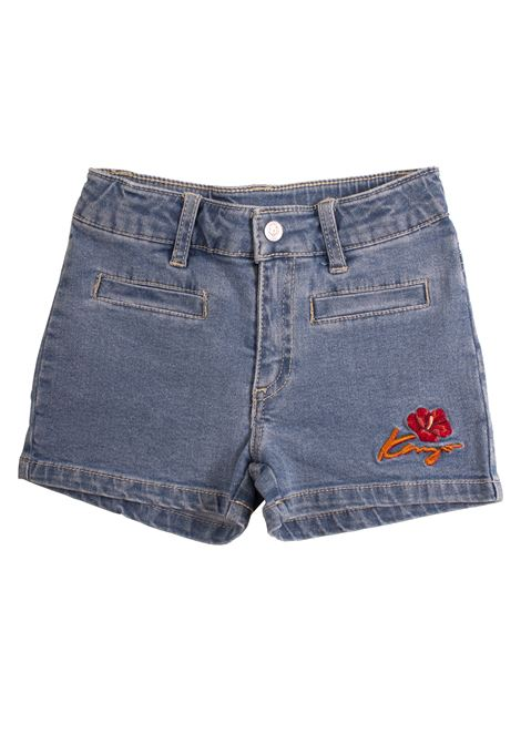 Denim girl shorts with embroidery KENZO KIDS | Short | KN2601846
