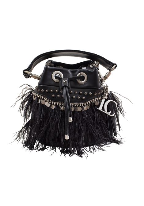 Bucket bag in faux leather with studs, applications and feathers LA CARRIE | Bags | E-610-EPP06