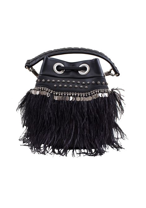 Bucket bag in faux leather with studs, applications and feathers LA CARRIE | E-610-EPP06