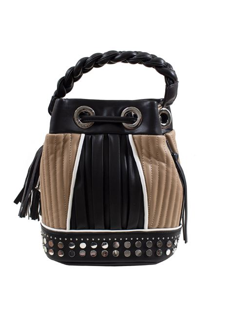 Bucket bag in faux leather with studs, applications and feathers LA CARRIE | E-640-EP05