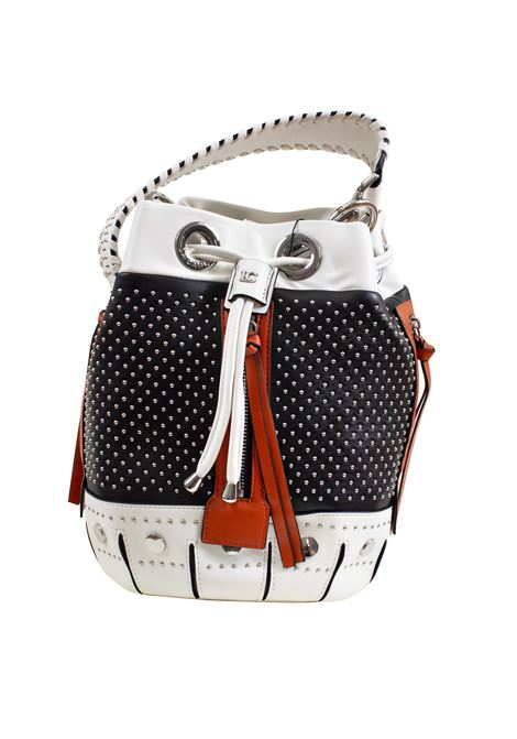 Bucket bag in faux leather with studs, applications and feathers LA CARRIE | Bags | E-645-EP09