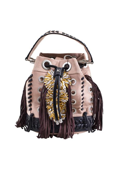 Bucket bag in faux leather, suede and fringe LA CARRIE | Bags | E-675-SU01