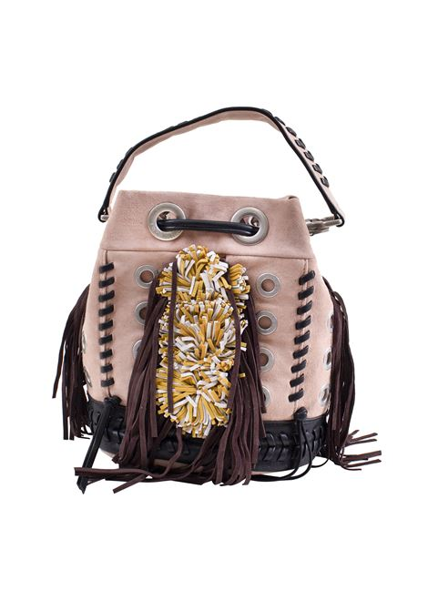 Bucket bag in faux leather, suede and fringe LA CARRIE | E-675-SU01