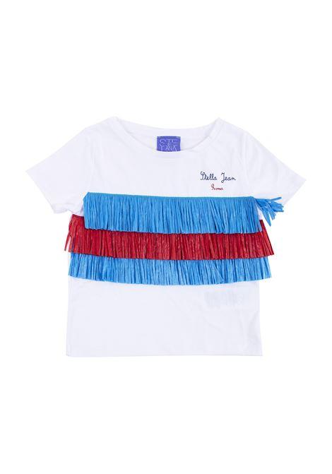 T-shirt in cotone con frange in paglia STELLA JEAN KIDS | T-shirt | TE0212510745