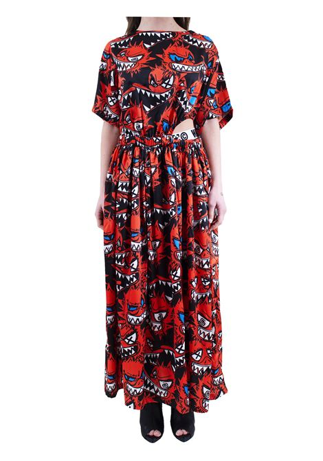 Printed women's long dress WHITE | Dress | 153WAL16