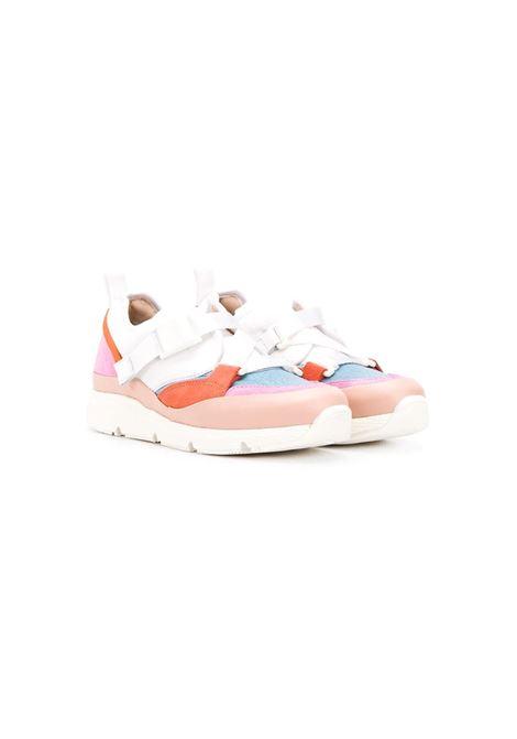 CONTRAST-PANEL CROSS-STRAP TRAINERS CHLOE' KIDS | Sneakers | C19111491