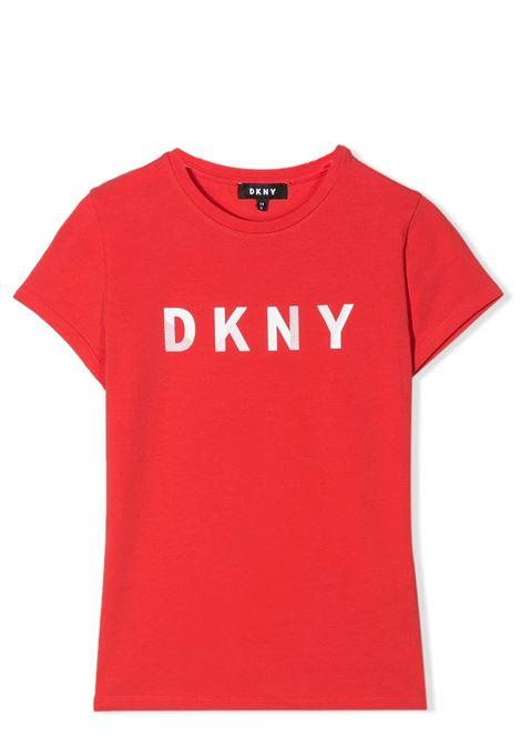 T-SHIRT CON STAMPA LOGO DKNY KIDS | T-shirt | D35Q47T977