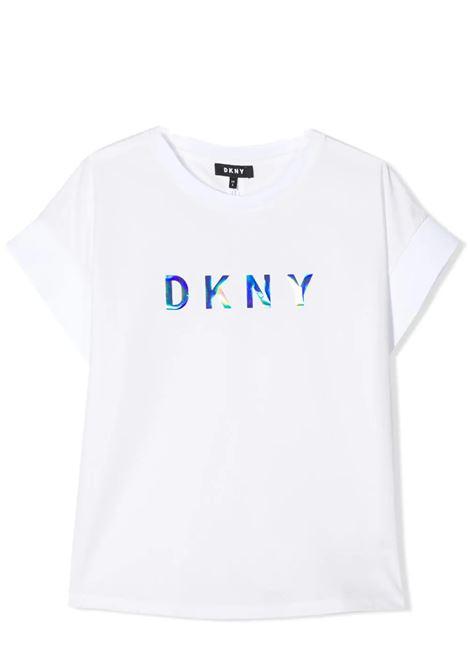 T-SHIRT CON LOGO IRIDESCENTE DKNY KIDS | T-shirt | D35Q5110B