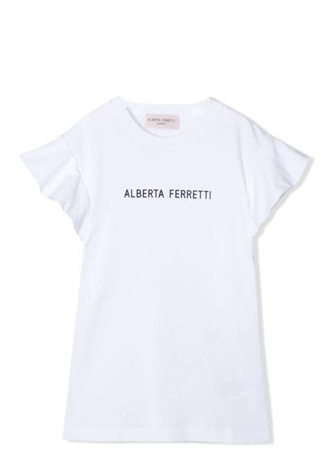 T-SHIRT CON STAMPA E MANICHE CON RUCHES ALBERTA FERRETTI JUNIOR | T-shirt | 027438T002