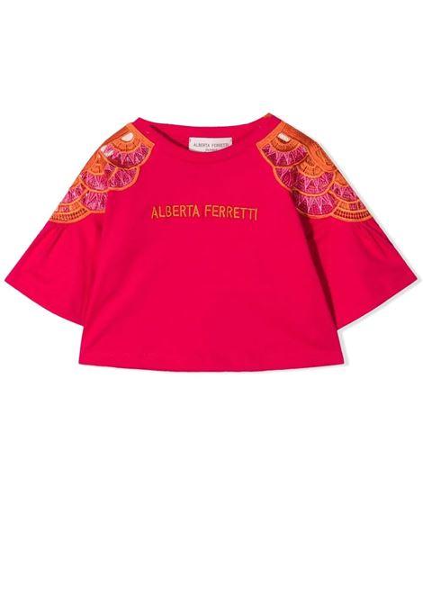 T-shirt bambina con logo ricamato ALBERTA FERRETTI JUNIOR | 027980T044