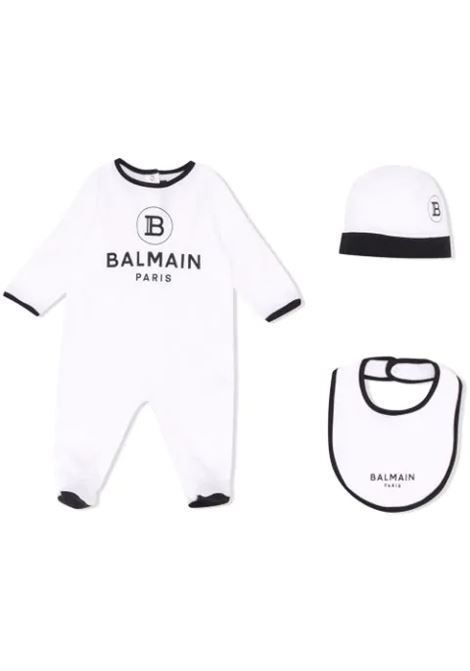NEWBORN SET WITH LOGO BALMAIN KIDS | Newborn jumpsuits | 6M0850 MB370100NE