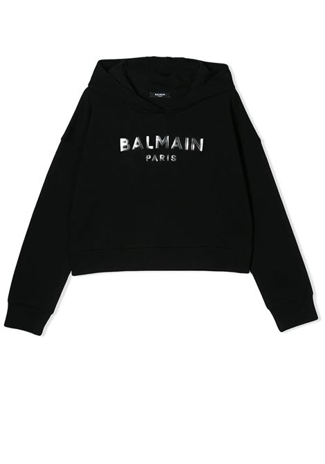 SHORT SWEATSHIRT WITH HOOD BALMAIN KIDS | Sweatshirts | 6M4010 MX270930