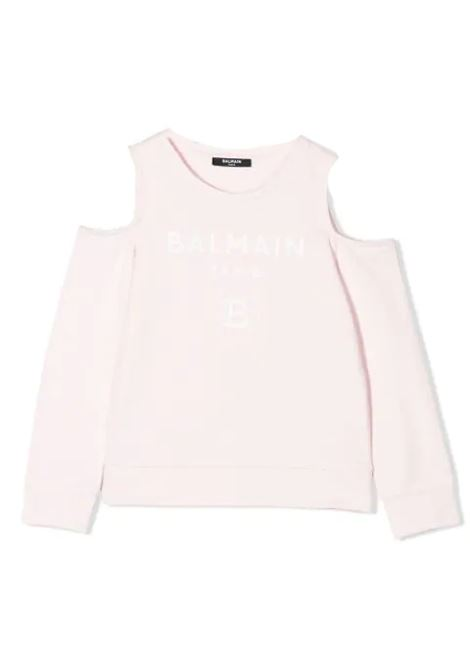 SWEATSHIRT WITH BARE SHOULDERS  BALMAIN KIDS | Sweatshirts | 6M4020 MX270T506
