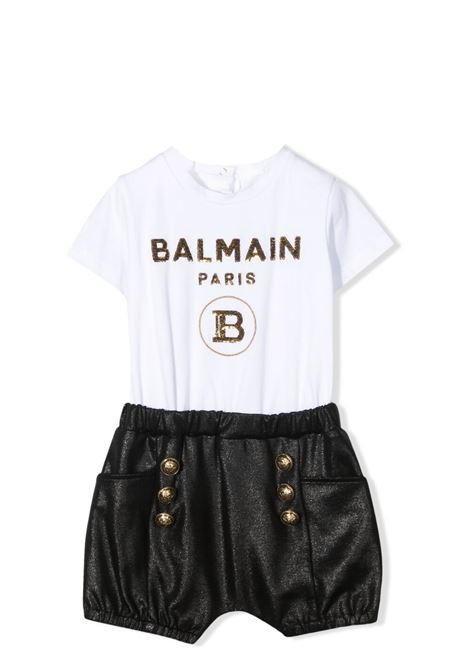 JUMPSUIT WITH SEQUIN PRINT BALMAIN KIDS | Newborn jumpsuits | 6O1849 OB690100NE