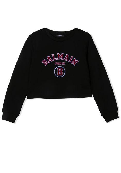 Little girl sweatshirt with embroidered logo BALMAIN KIDS | Sweatshirts | 6O4030 OX370T930RO