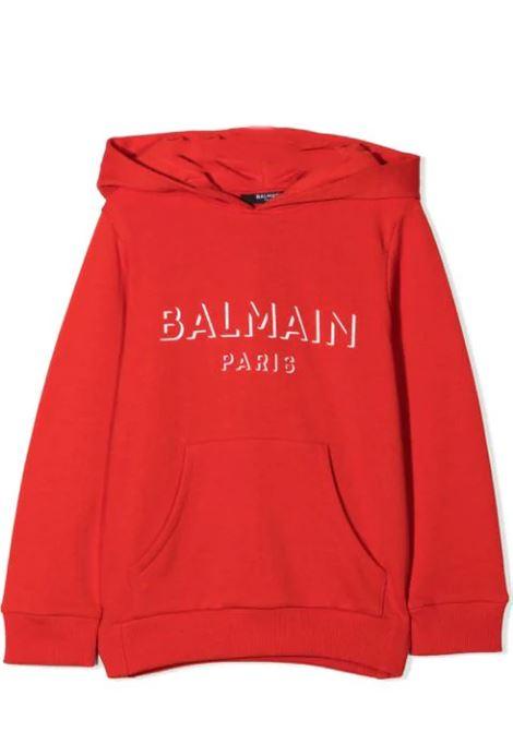 RED HOODIE BALMAIN KIDS | Sweatshirts | 6O4580 OX370412