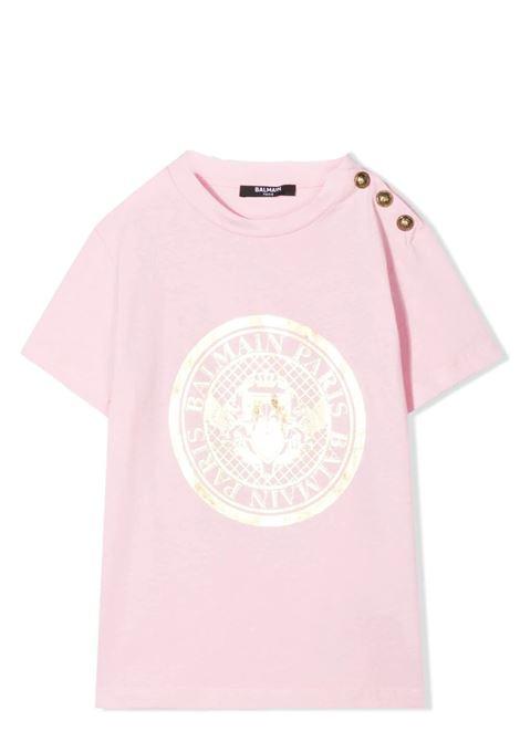 T-SHIRT CON STAMPA E BOTTONI BALMAIN KIDS | T-shirt | 6O8011 OX390515OR