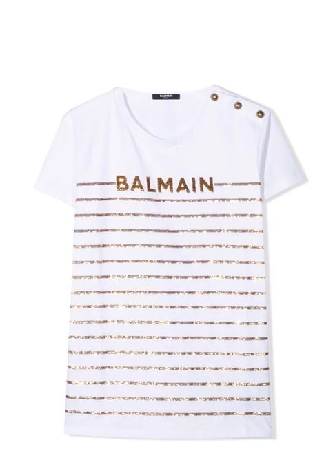 Little girl t-shirt with sequins BALMAIN KIDS | T-shirt | 6O8061 OB690100