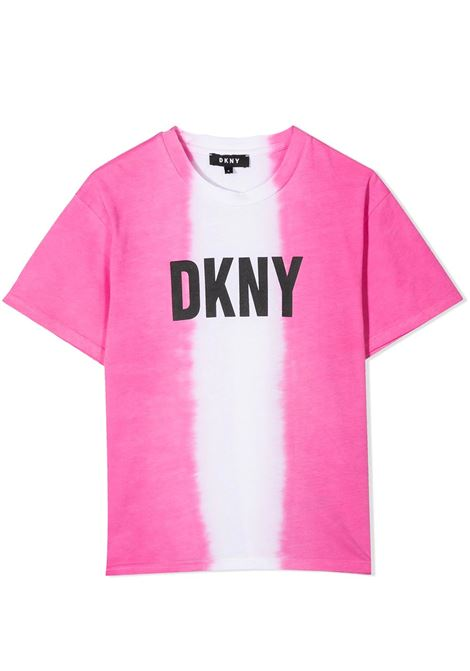 T-SHIRT BICOLORE CON STAMPA DKNY KIDS | T-shirt | D35R3144G