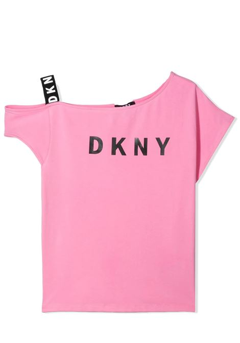 ONE SHOULDER T-SHIRT WITH PRINT DKNY KIDS | T-shirt | D35R4444G