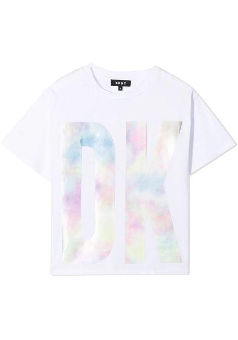 T-SHIRT CON STAMPA FANTASIA TIE DYE DKNY KIDS | T-shirt | D35R5210B