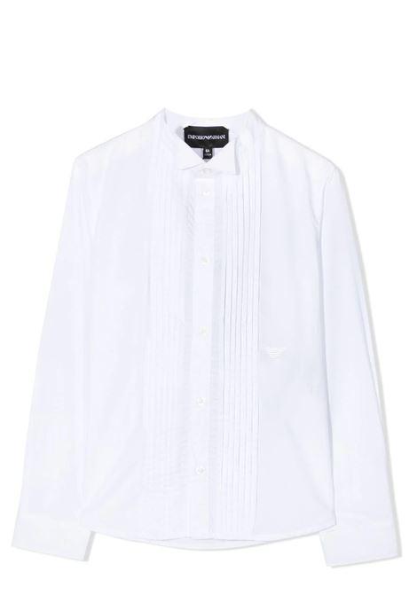 WHITE PLEATED SHIRT EMPORIO ARMANI KIDS | 6H4CJ8 4N3GZ0100
