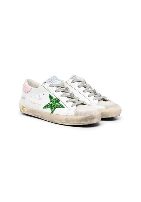 SNEAKERS WITH PINK BACK AND GREEN STAR GOLDEN GOOSE KIDS | Sneakers | GYF00101 F00115910515