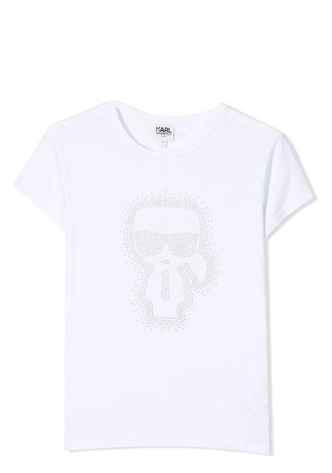 T-SHIRT CON APPLICZIONE DI STRASS KARL LAGERFELD KIDS | T-shirt | Z15298T10B
