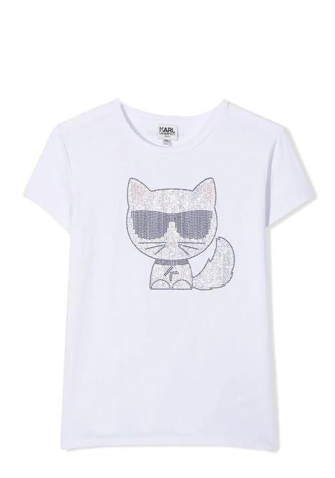 T-SHIRT CON DECORAZIONE KARL LAGERFELD KIDS | T-shirt | Z15300T10B