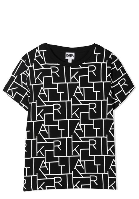 BLACK T-SHIRT WITH PRINT KARL LAGERFELD KIDS | T-shirt | Z25279M41