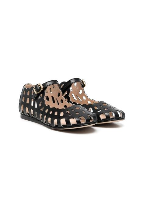 BLACK PERFORATED BALLERINA MIMISOL | Balletshoes | 682801