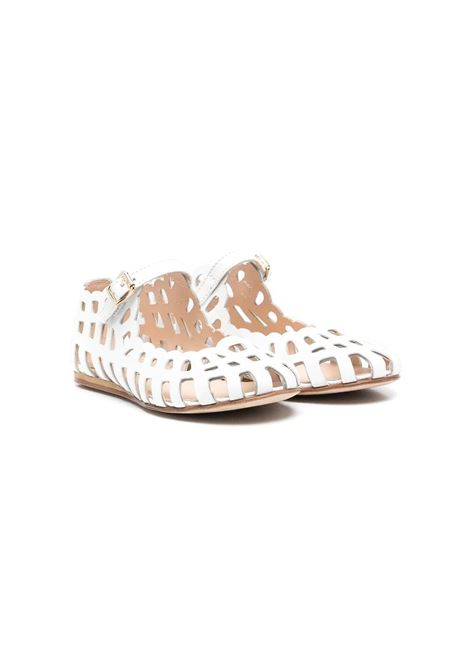 WHITE PERFORATED BALLERINA MIMISOL | Balletshoes | 682802