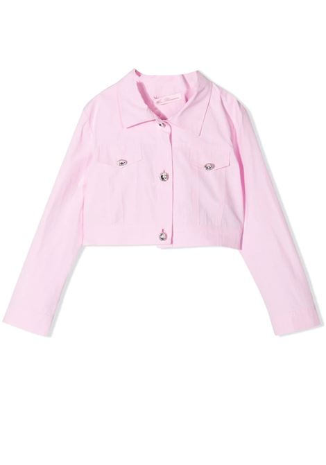 PINK CROP DENIM JACKET MISS BLUMARINE KIDS | Jacket | MBL372003