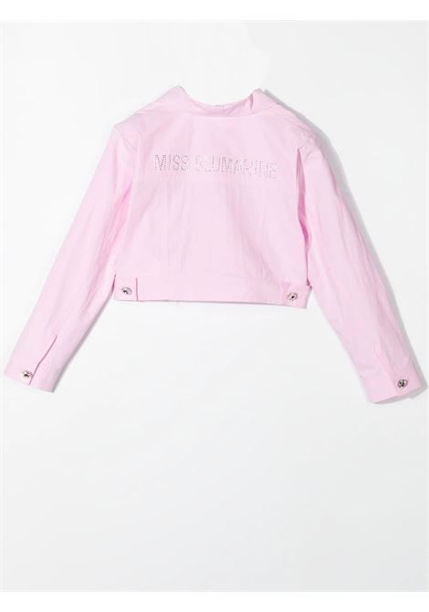 PINK CROP DENIM JACKET MISS BLUMARINE KIDS | MBL372003