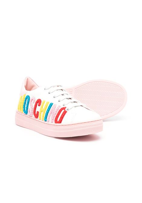 SNEAKERS WITH MULTICOLORED WRITING MOSCHINO KIDS | 674951