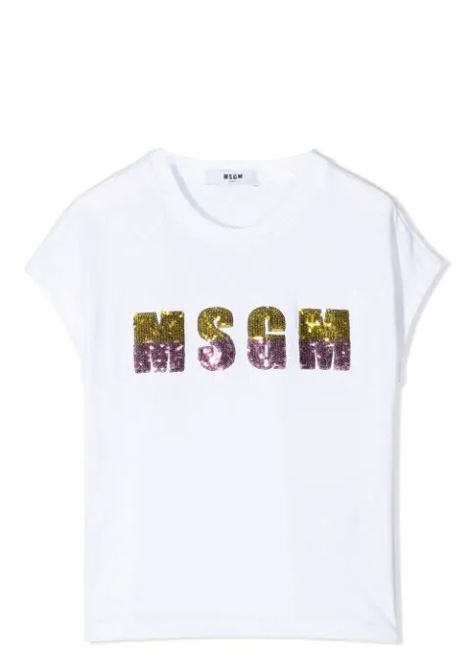 SEQUIN LOGO T-SHIRT  MSGM KIDS | T-shirt | MS026866001