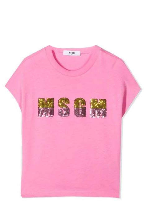 SEQUIN LOGO ROUND NECK T-SHIRT MSGM KIDS | T-shirt | MS026866T042