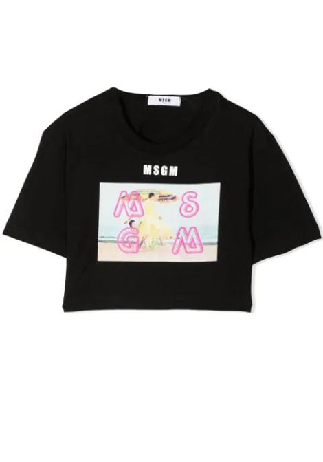 GRAPHIC PRINT CROPPED T-SHIRT MSGM KIDS | T-shirt | MS026881110