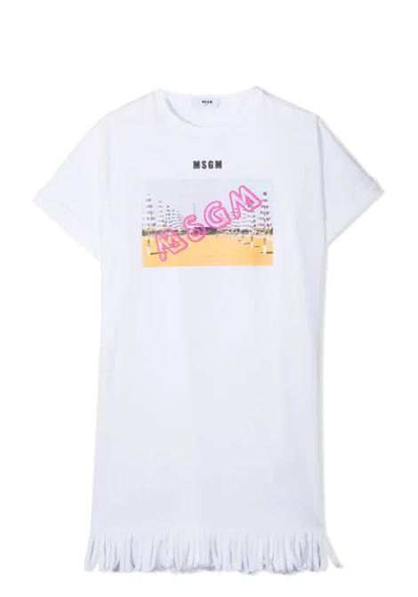 LOGO FRINGED T-SHIRT  MSGM KIDS | Dress | MS026883001