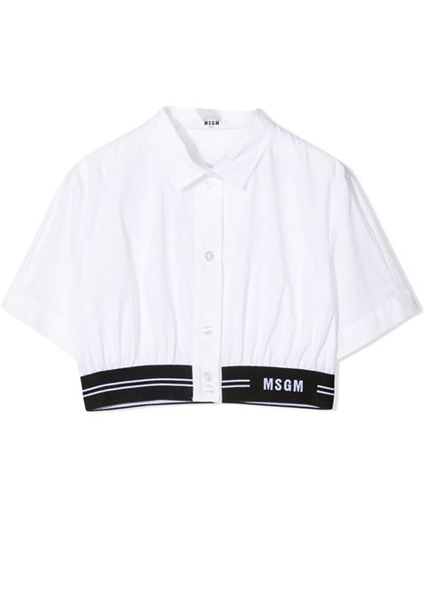 CROPPED COTTON SHIRT  MSGM KIDS | Shirt | MS026887001