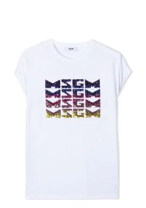 T-SHIRT WITH SEQUIN LOGO  MSGM KIDS | T-shirt | MS026894001