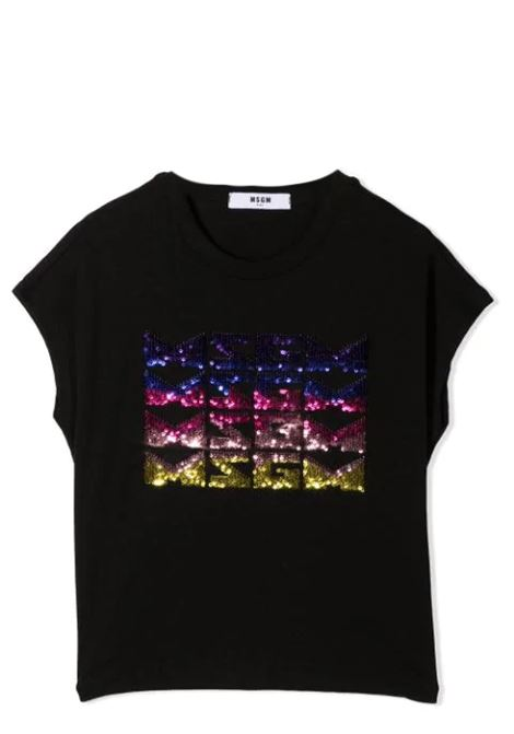 T-SHIRT CON LOGO IN PAILLETTES MSGM KIDS | T-shirt | MS026894T110