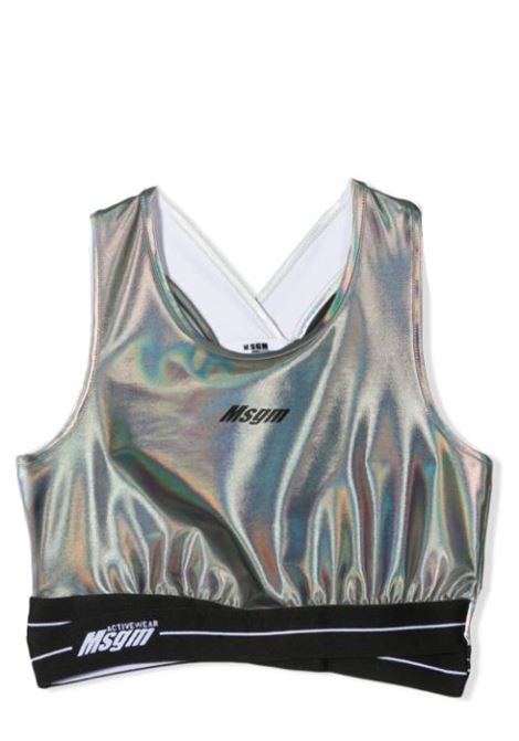 METALLIC TOP WITH LOGO MSGM KIDS | Top | MS027070T200
