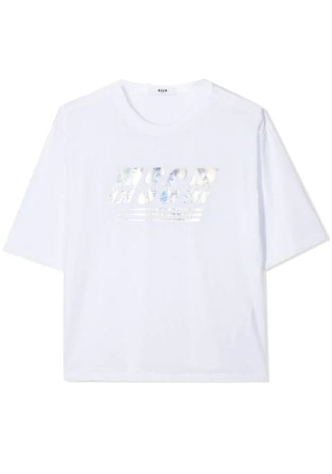 METALLIC LOGO PRINT T-SHIRT MSGM KIDS | T-shirt | MS027072T001
